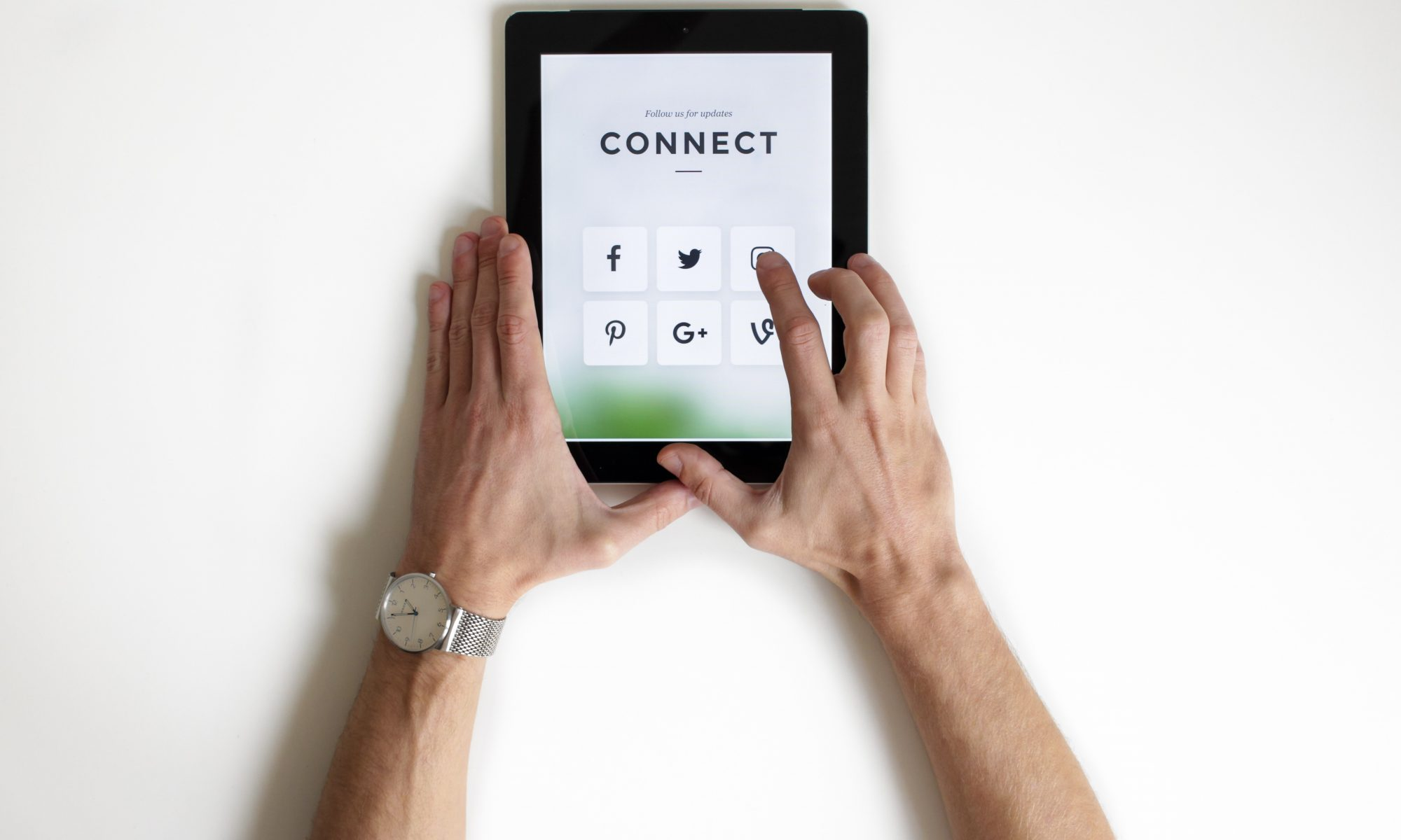Next Steps social media on an ipad