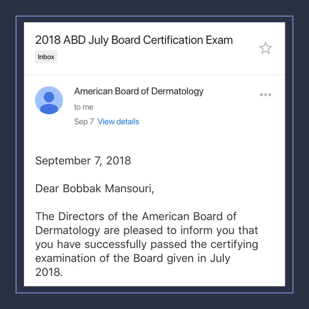 board certified dermatologist