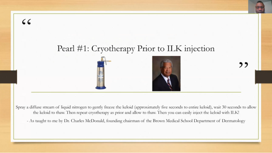 Cryotherapy prior to ILK injection