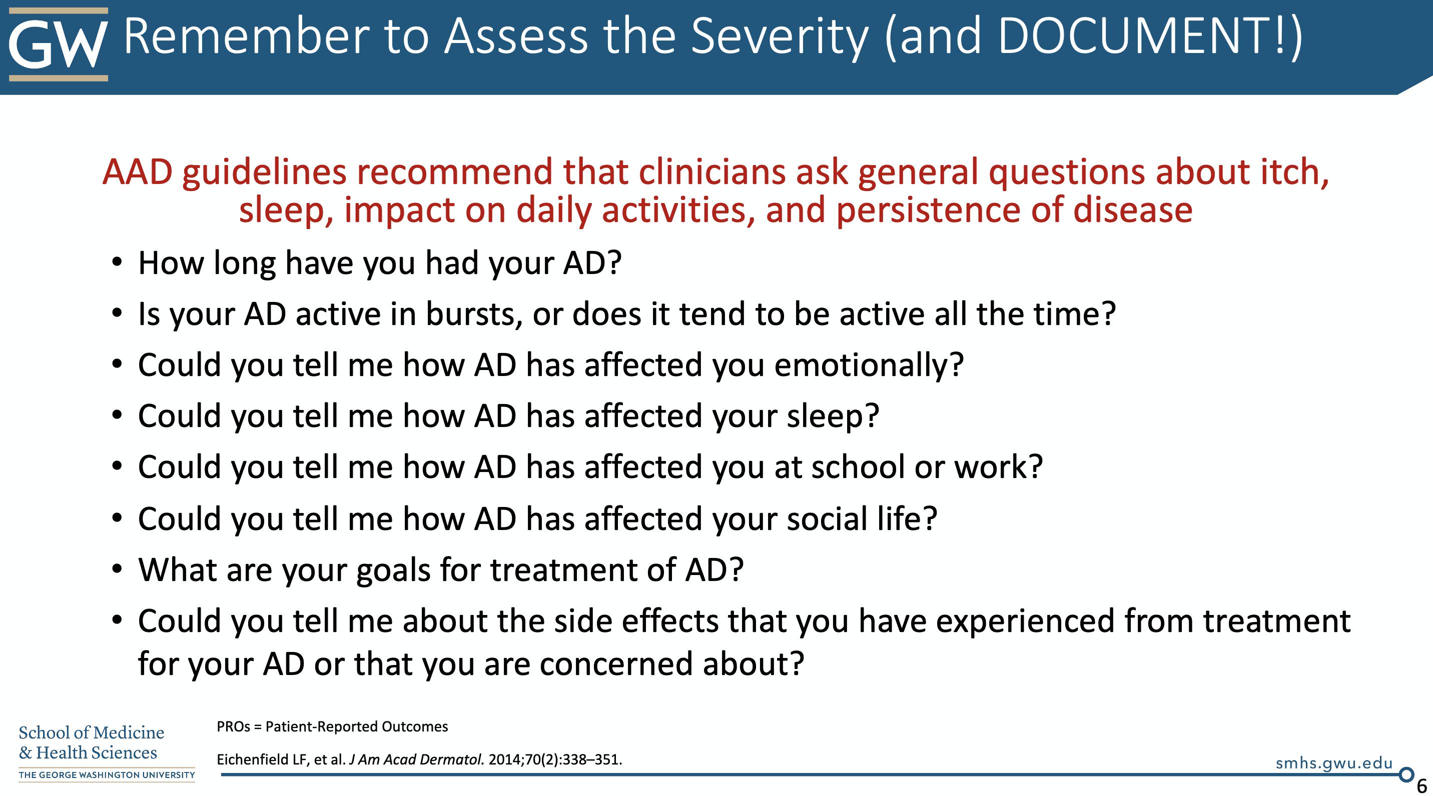 atopic dermatitis questionnaire