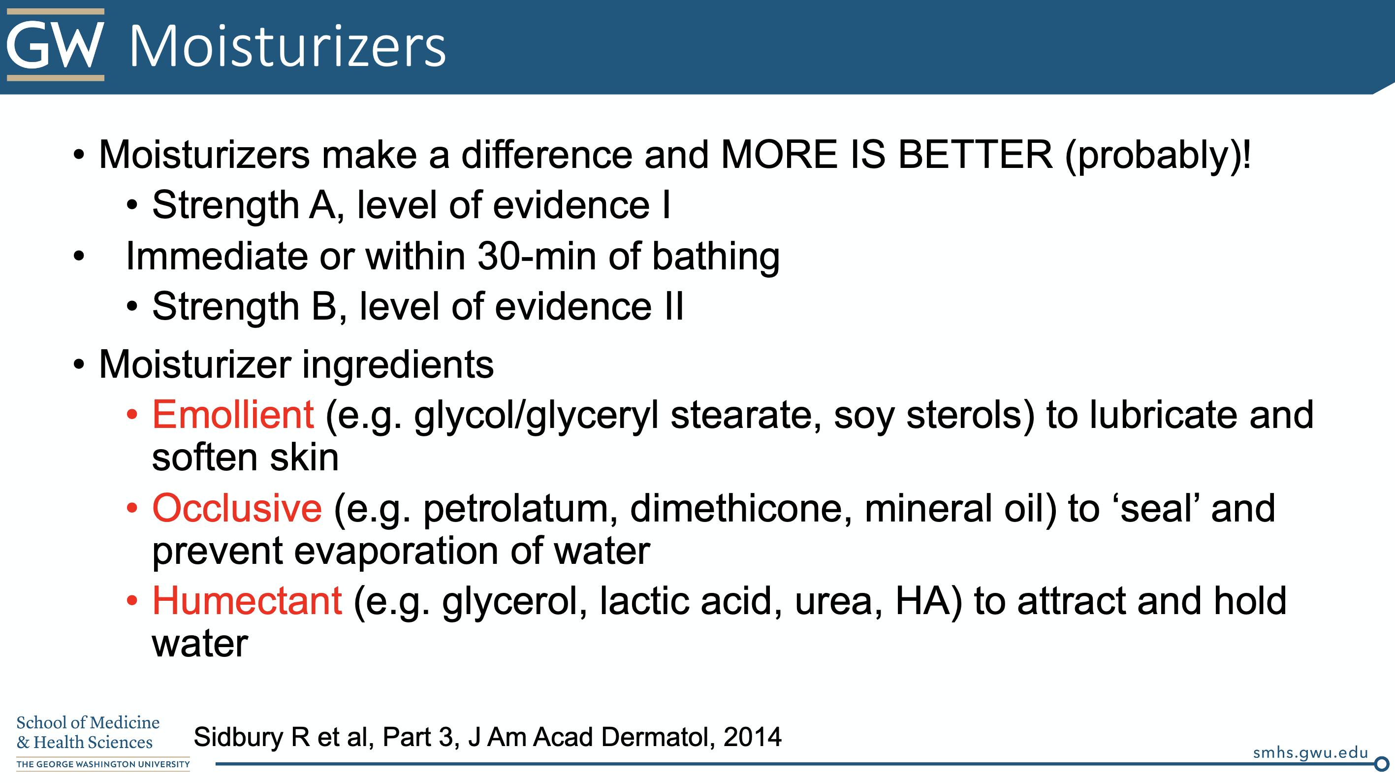 Moisturizers for atopic dermatitis