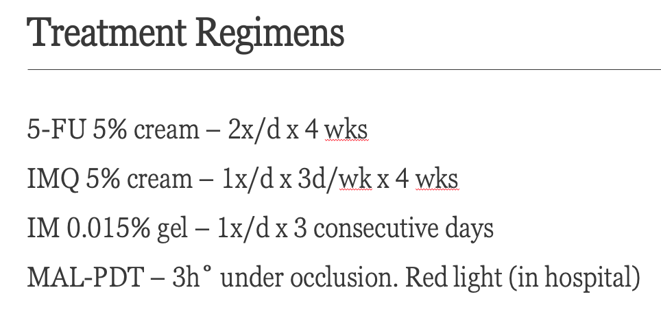 Actinic Keratoses Treatment Regimens